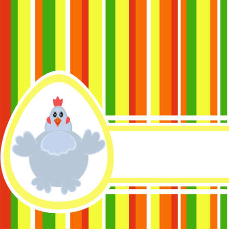 Colorful Easter background with Stripes, Egg, Chicken and free space for Your greetings. Good pattern for postcard Vector