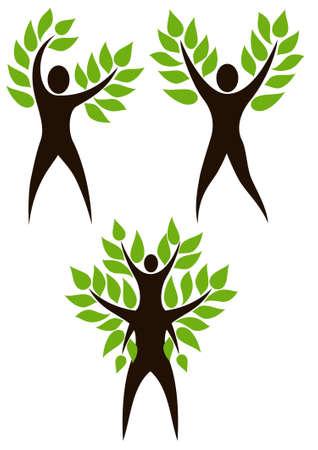Conjunto de personas árbol. Árbol estilizado con la persona en su base. Ilustración simboliza la unidad de humanos y de la naturaleza, la protección del medio ambiente