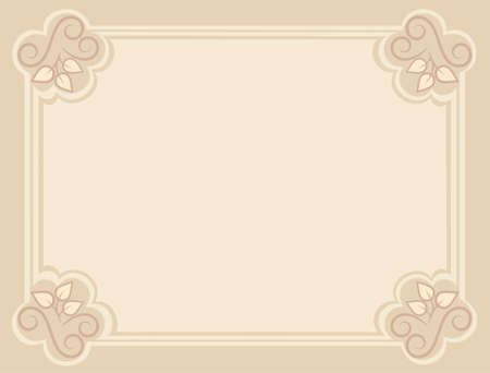 restrained: Blank background with decorative border.  illustration in restrained color Illustration