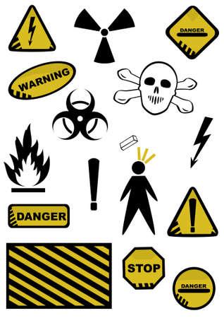 radioactive sign: Conjunto de signos de peligros. objetos de fondo blanco