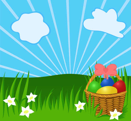 greenery: Easter sunny background with basket, eggs, greenery. Illustration for your design or postcard Illustration