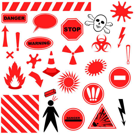 deadly: Set of Icons of Danger.  objects isolated on white background Illustration