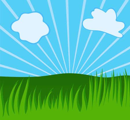 aerate: Estate sfondo con erba, raggi di sole, nuvole ariose