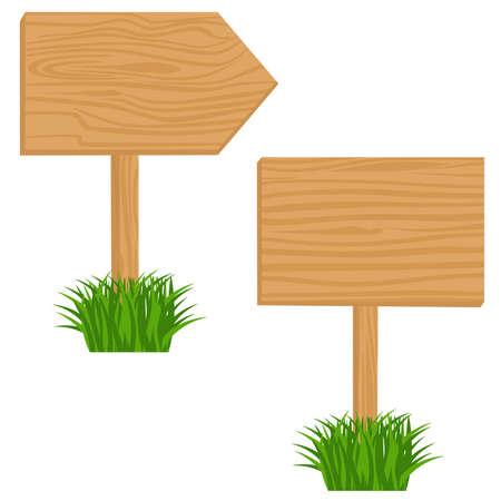 indicatore: Due cartelloni blank in legno in erba.  oggetti isolati