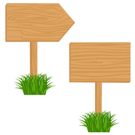 notices: Two Blank Wooden billboards in grass.  objects isolated