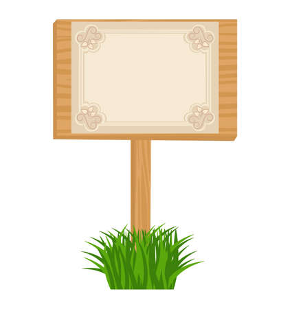 Wooden billboard in grass with blank decorative sheet Vector
