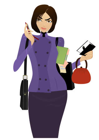 checking accounts: Beautiful Businesswoman speaks on the cell phone and checking her task list Illustration