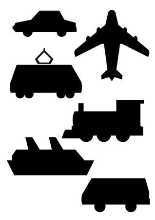 Schematic picture various transport vehicles Vector