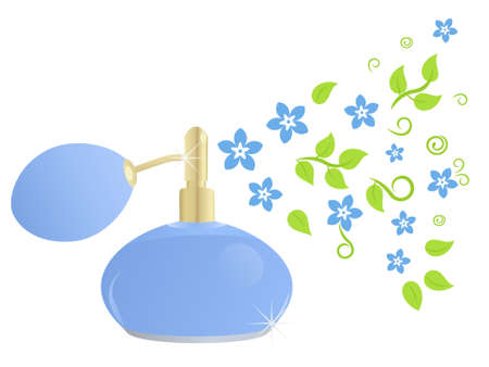 Elegante botella perfume con composición floral (fragancias de la primavera) Ilustración de vector