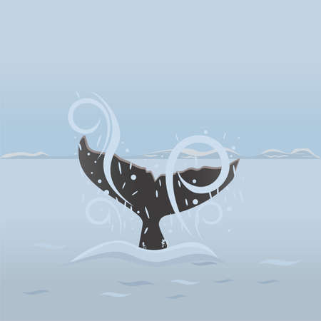 Big whale diving under water. Background with sea life Vector