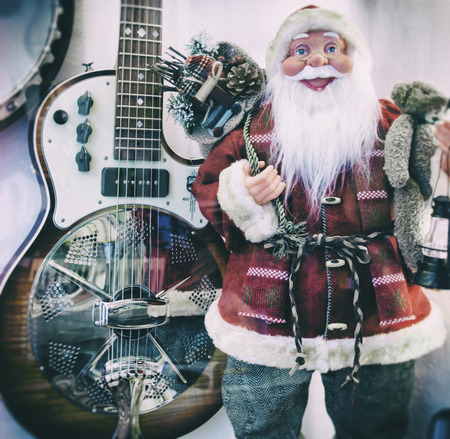 winter blues: Santa Claus and vintage guitar