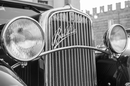 proceeds: VERONA, ITALY - JANUARY 6: Classic vintage car. Benaco Classic Autoclub organizes a gathering called witch of the policeman on Verona Tuesday, January 6, 2015. The proceeds are donated to charity.
