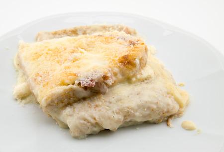 toast bread: italian toast bread tartlet with ham, cheese and mozzarella