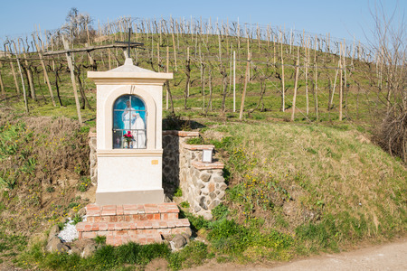 devote: Italian traditional votive temple in the countryside dedicated to the Virgin Mary to propitiate the harvest