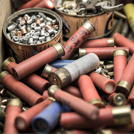 ammunition: old material to reload ammunition for hunting Stock Photo