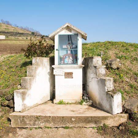 holy family: Italian traditional votive temple in the countryside dedicated to the holy family to propitiate the harvest