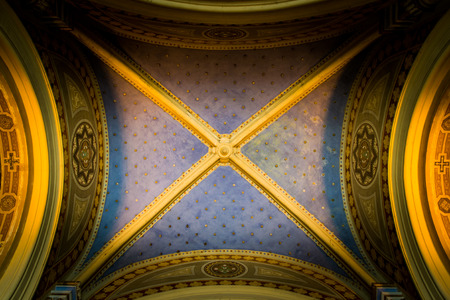 antique ceiling with gold stars photo