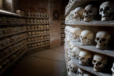 catacomb: human skulls inside a Christian catacomb