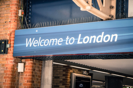 designates: welcome to london sign Stock Photo