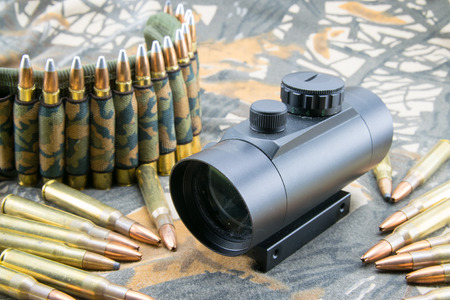 composition with rifle ammunition and red dot sight