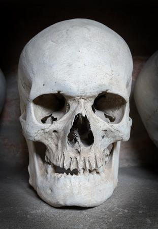 catacomb: human skull inside a Christian catacomb Stock Photo