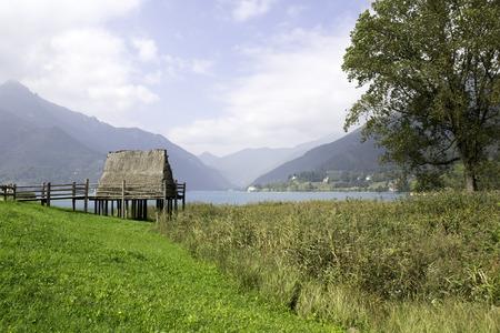 paleolithic: paleolithic pile-dwelling near Ledro lake, unesco site in north Italy