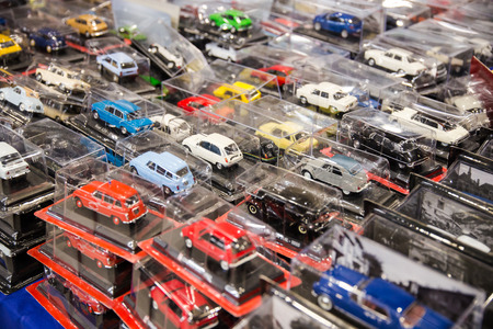 many toy cars colored still closed in transparent packaging
