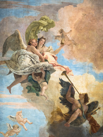 neoclassic: Detail of the fresco the triumph of Virtue and Intelligence on Error by Giambattista Tiepolo, villa Cordellina Lombardi, Vicenza, Italy