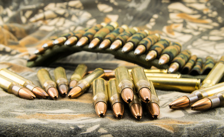 9mm ammo: composition with camouflage ammunition belt for assault rifle