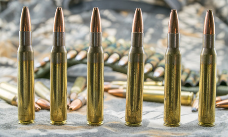 9mm ammo: hollow-point ammunitions for rifle Stock Photo
