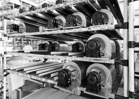 gravitational: fan motors on the rollers gravitational ready to be used on the assembly line