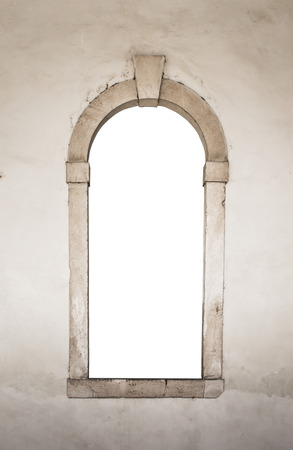grunge frame: Ancient stone window suitable as a frame or border.
