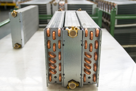 Aluminium heat exchanger in a modern factory Фото со стока - 44034156