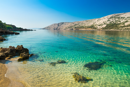 turquoise water: The pristine coastline and crystal clear water of the island of Rab, Croatia.