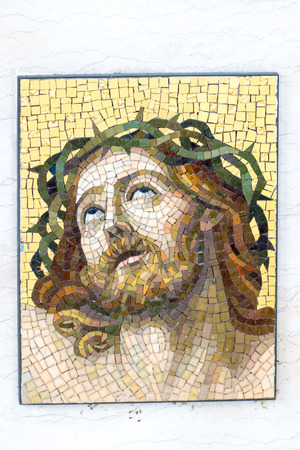 Mosaic of Jesus Christ with crown of thorns. Editorial