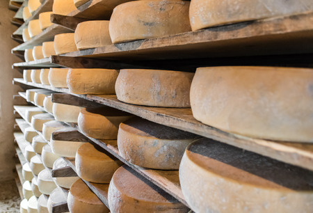 alpine hut: Alpine hut that produces and sells homemade cheeses. Stock Photo