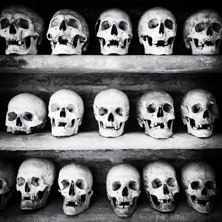 catacomb: Human skulls found  inside a Christian catacomb. Stock Photo