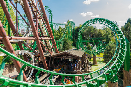 CASTELNUOVO DEL GARDA, Italy - September 08: Gardaland Theme Park in Castelnuovo Del Garda, Italy on Tuesday, September 8, 2015. Three million people visit the park on a yearly basis.