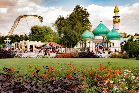 yearly: CASTELNUOVO DEL GARDA, Italy - September 08: Gardaland Theme Park in Castelnuovo Del Garda, Italy on Tuesday, September 8, 2015. Three million people visit the park on a yearly basis.