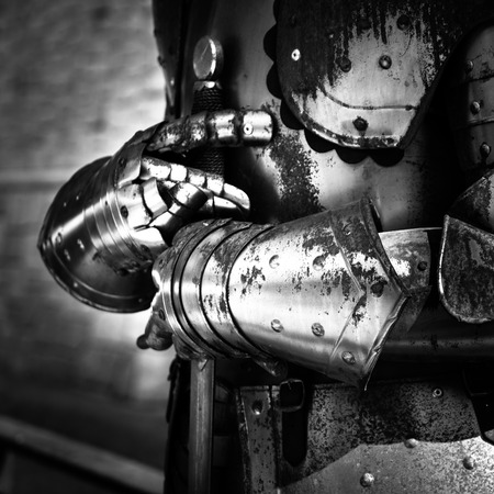 Detail of an old rusty medieval armor.