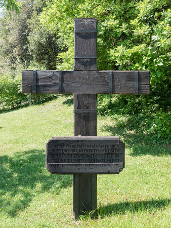 comrades: Cross in the German cemetery of Costermano, Italy. On the plate the inscription: To our fallen comrades and in honor of all the soldiers who died.