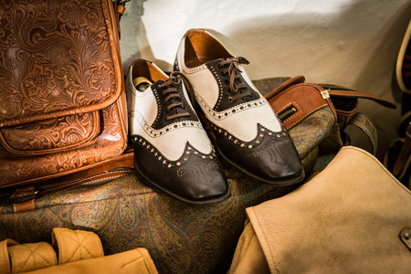 handcrafted: Classic shoes handmade in an Italian  shop working handcrafted leather.