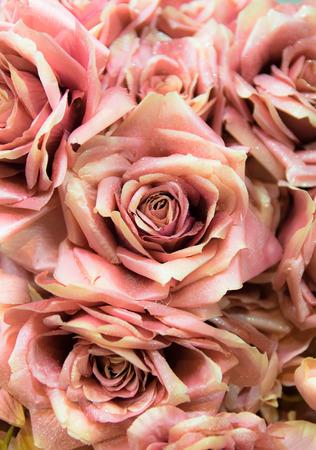 Antecedentes consta de rosas artificiales hechas y pintadas a mano.