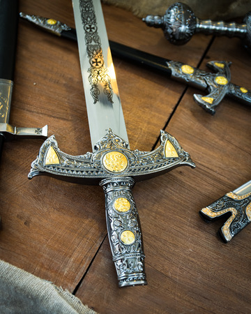 Detail of the hilt of a sword that dates from the time of the Crusaders.