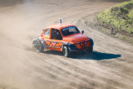 roll bar: VERONA, Italy - November 8, 2015: Car during a stock car cross race in Verona, Italy on Sunday, November 8, 2015. The league called stock car cross foresees the use of tuned cars on unpaved circuits.