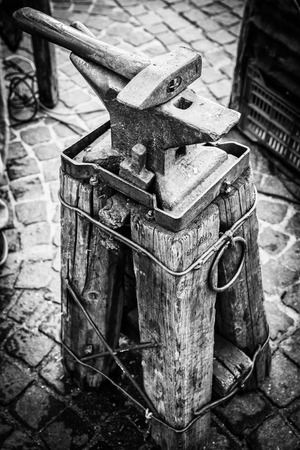 medieval blacksmith: Ancient anvil used by Napoleons army to shoe horses. Stock Photo