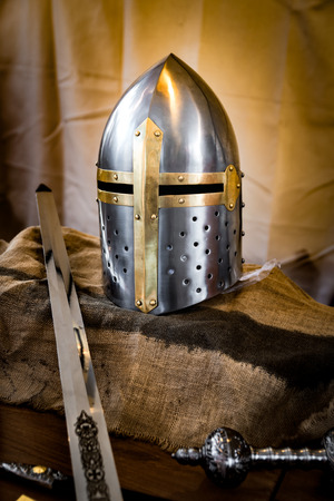 slits: Helmet of a crusader armor equipped with slits. Stock Photo