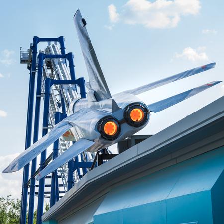 adrenaline: CASTELNUOVO DEL GARDA, Italy - September 8: Gardaland amusement park at Castelnuovo del Garda, Italy on Tuesday, September 8, 2015. Blue tornado is one of the most popular adrenaline attractions.