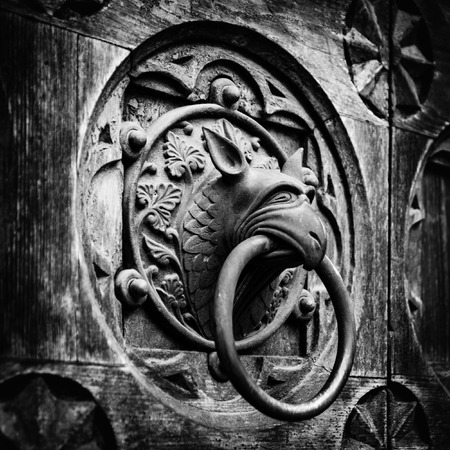 esotericism: Antique door knocker shaped like monsters head.