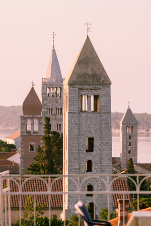 tourist resort: View of the town of Rab, Croatian tourist resort famous for its four bell towers. Stock Photo